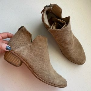 Dolce Vita Tan Suede Leather Mesh Almond-toe Boot